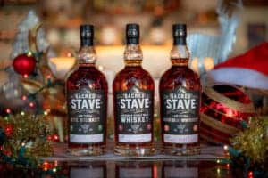 SanTan Spirits Sacred Stave American Single Malt Whiskey, Sacred Stave Arizona Bourbon, Sacred Stave Arizona Rye, shown in a holiday setting.